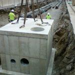 Manhole B8 completed concrete vault facing east on Demonbreum